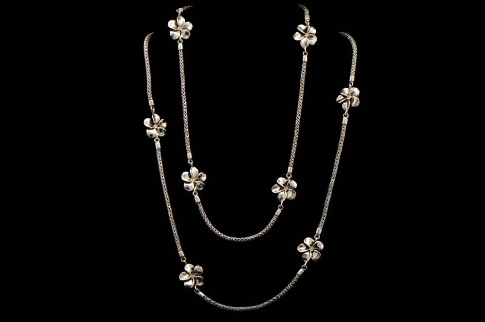 Robert Manse Sterling Silver and Diamond Flower Necklace
