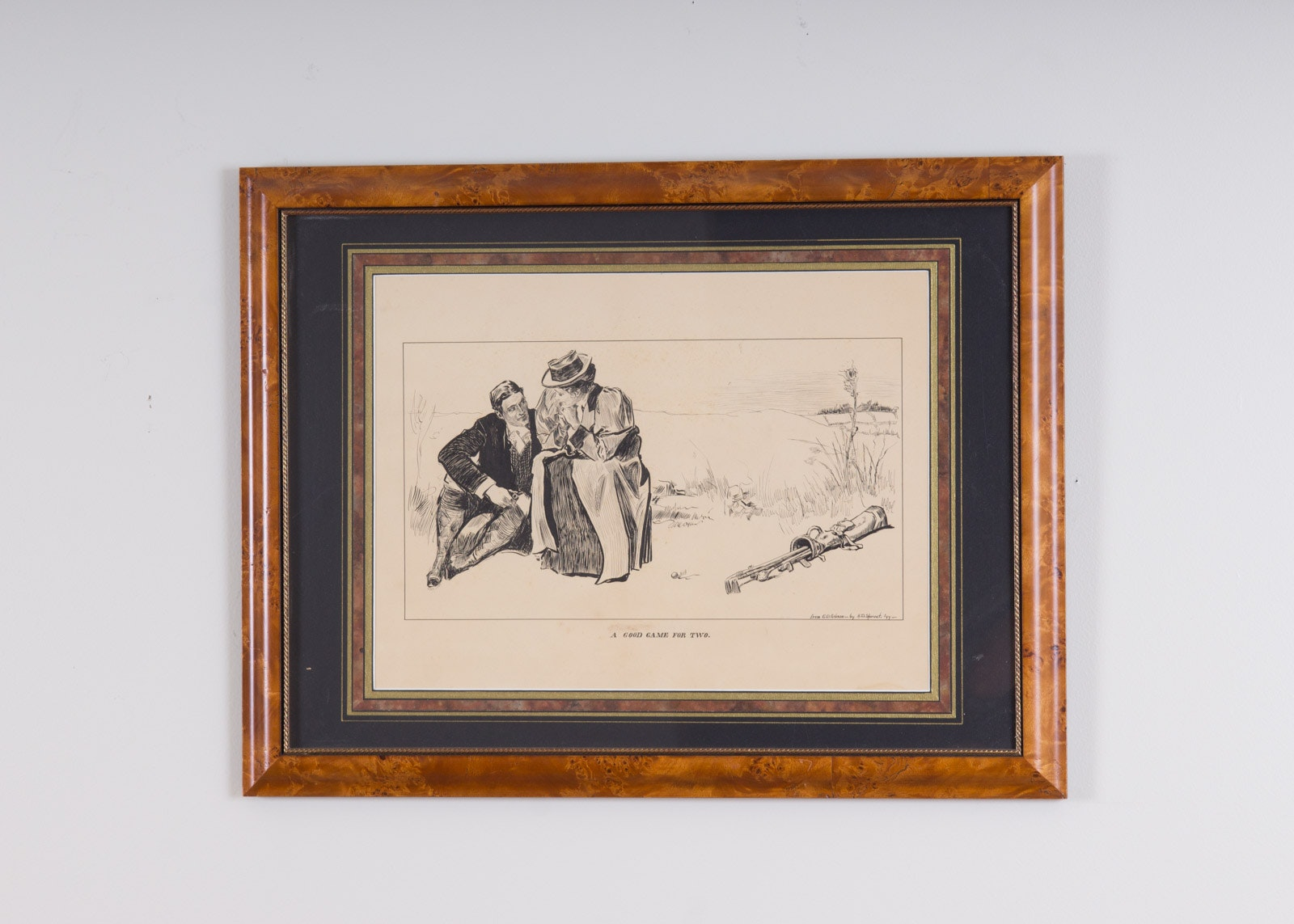 """A.D. Sproat Golf Theme Ink on Paper """"A Good Game for Two"""" (1899)"""