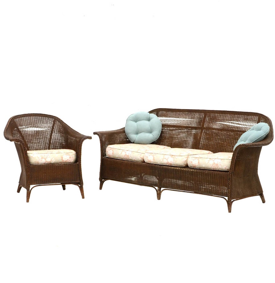 Vintage Wicker Sofa And Matching Arm Chair Ebth
