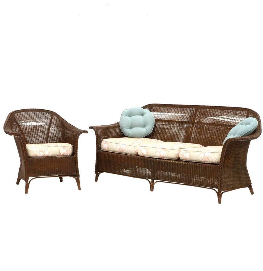 Vintage wicker sofa and matching arm chair ebth for Matching arm chairs