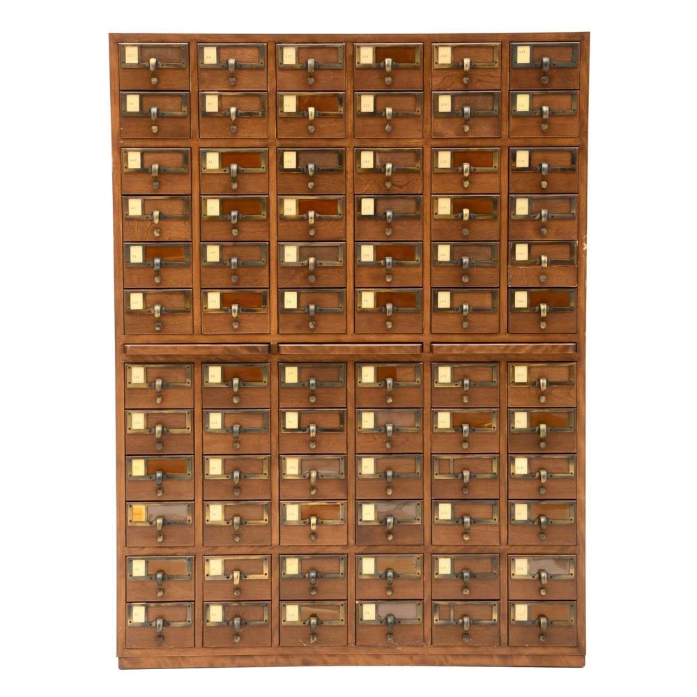 Oak Finish Library Card Catalog Cabinet ...