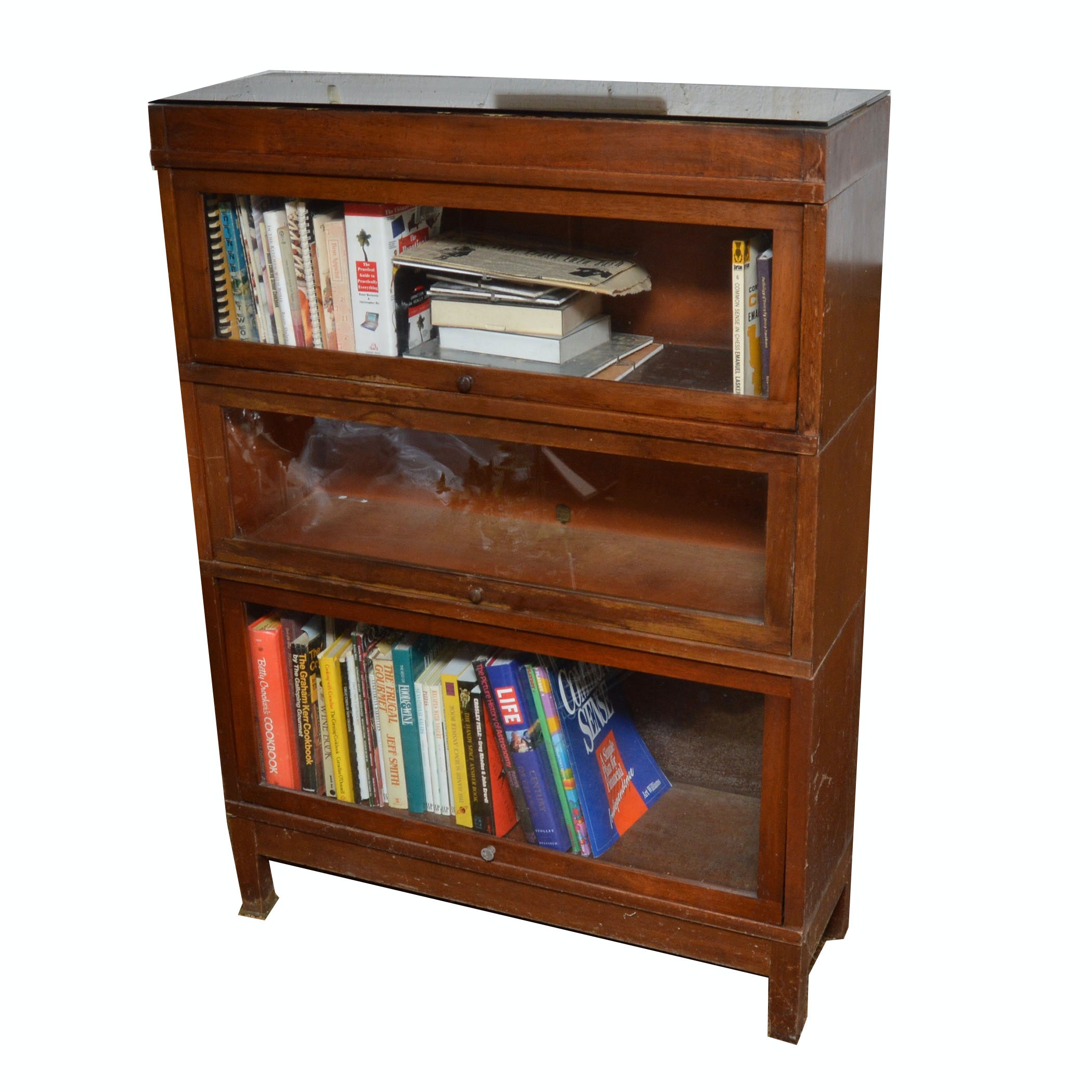 Lawyers Vintage Wood and Glass Bookcase : EBTH