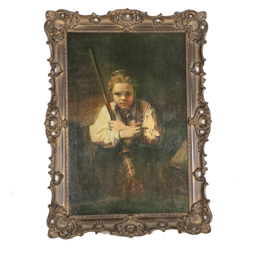 Rembrandt Van Rijn Offset Lithograph A Girl With A Broom Ebth