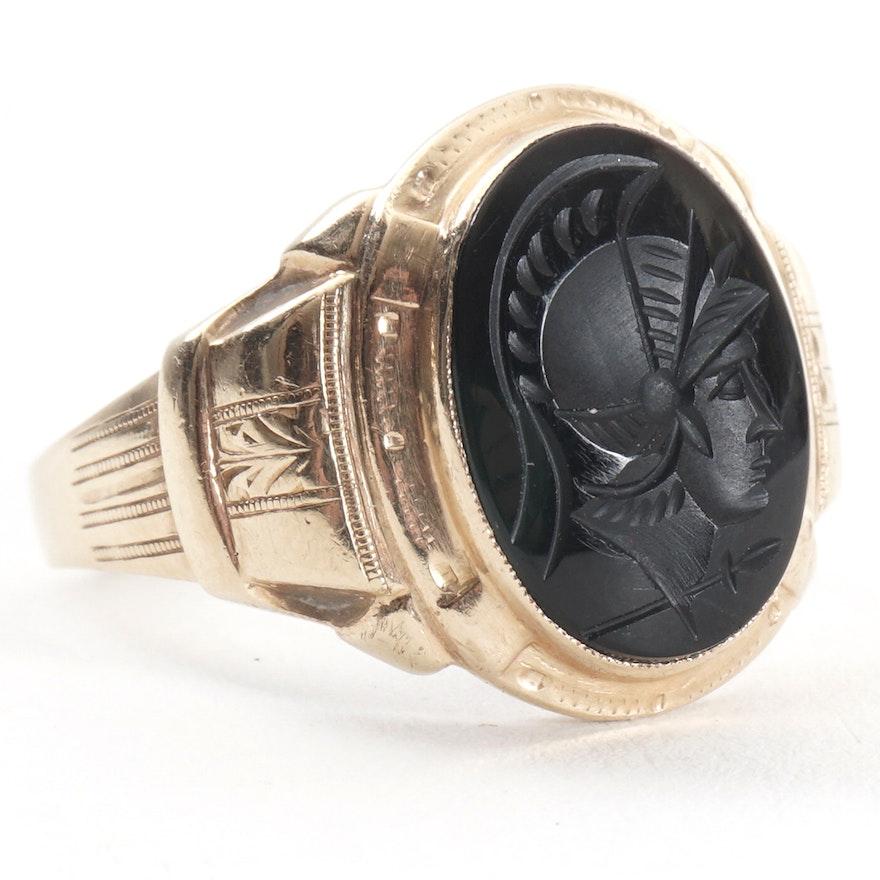 Men's 10K Yellow Gold Black Onyx Oval Intaglio Carved