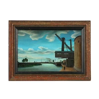 "Gertrude O'Brady Oil on Canvas ""Chaland de Charbon"""