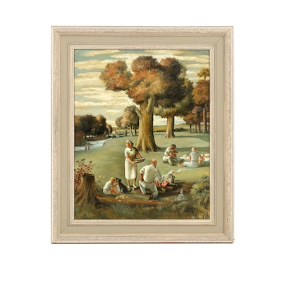 """Florence Smithburn Oil on Canvas Titled """"The Picnic"""""""