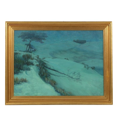 "George W. Picknell Oil Painting on Canvas ""Blue Winter"""