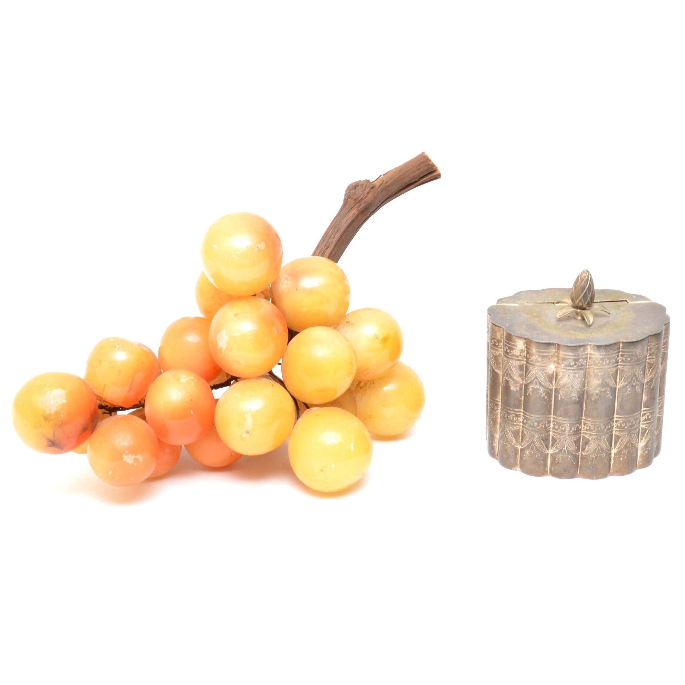 Marble Grapes and Plated Silver Canister
