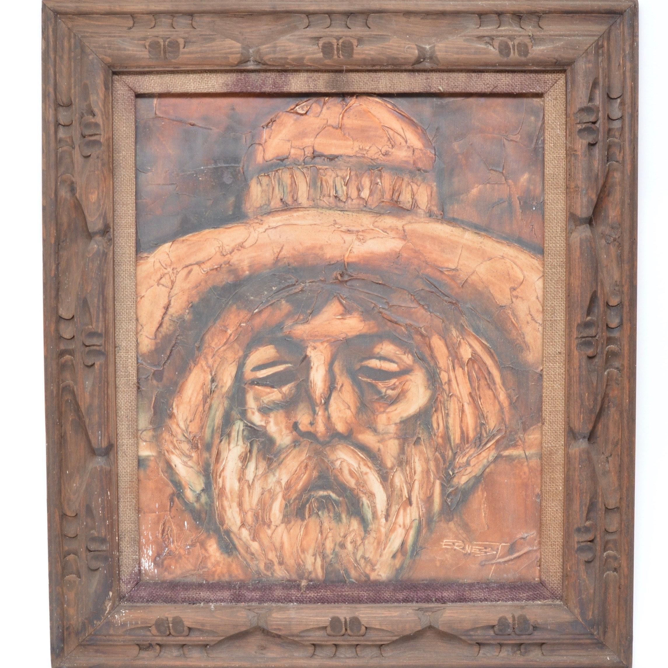 Vintage Impasto Oil Painting in Carved Wood Frame