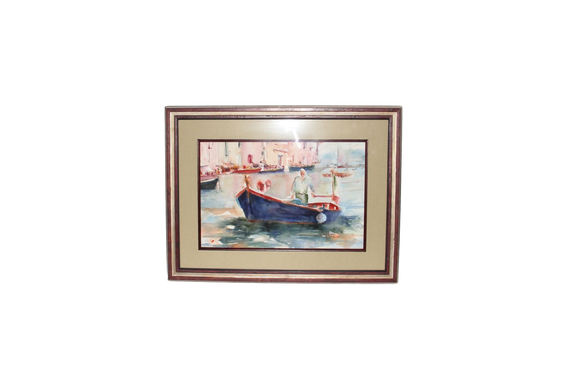 Watercolor Painting Of A River Boat Ebth