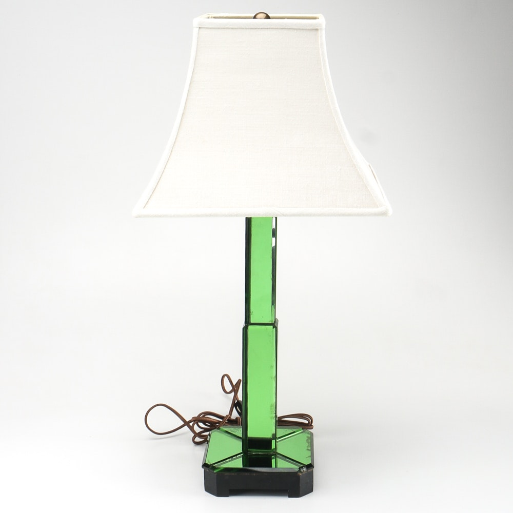 Art Deco Green Glass Table Lamp