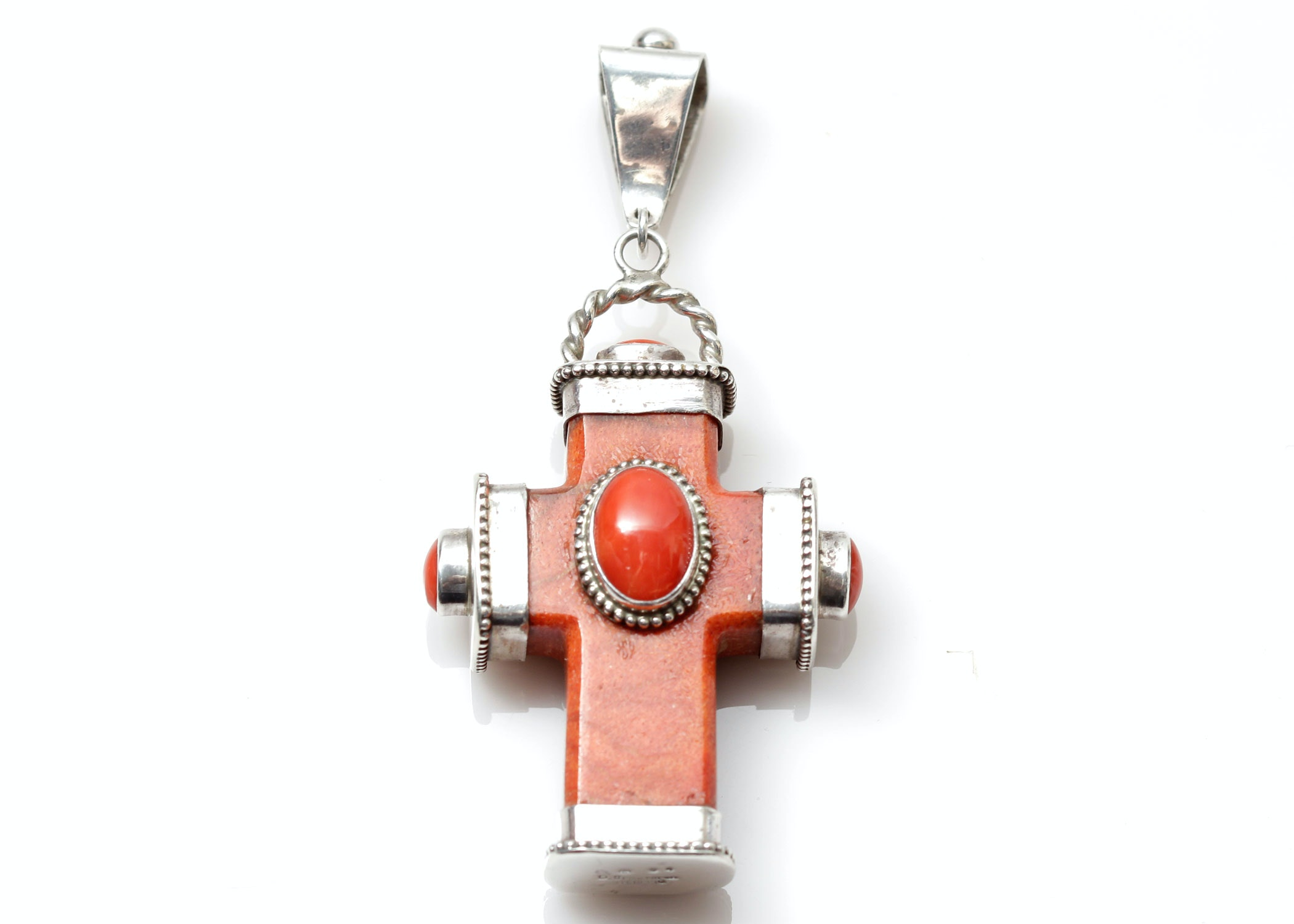 D Troutman Sterling Silver Coral Cross Pendant