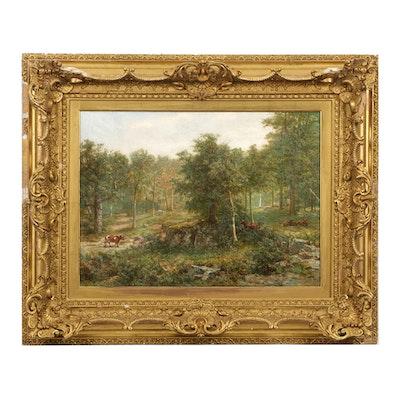 """Louis Delius Oil on Canvas """"Farm on Staten Island""""  1910"""