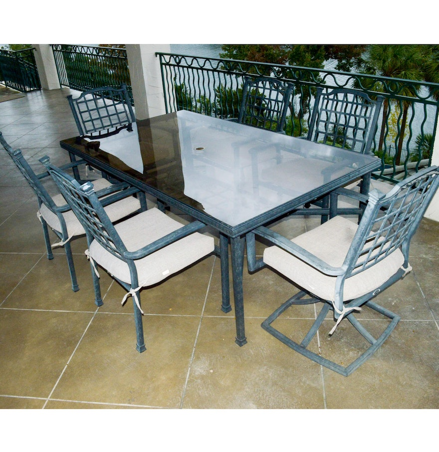 Hampton Bay Glass Top Patio Table Set : EBTH