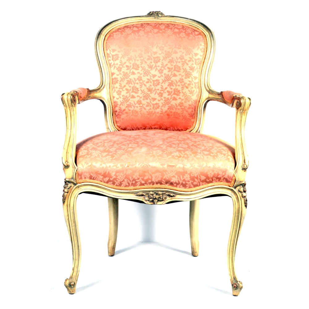 Louis XV Style Armchair with Silk Upholstery