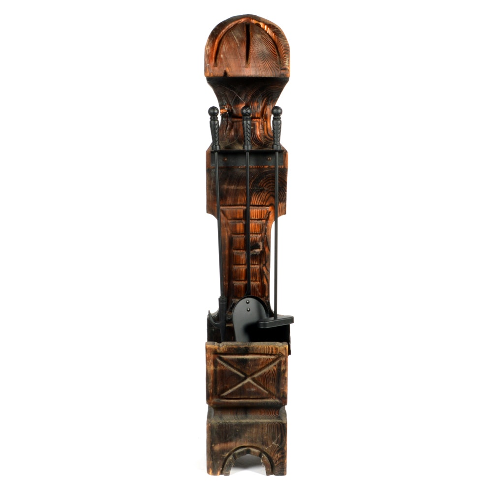 Carved Oak Fireplace Tool Holder with Wrought Iron Tools