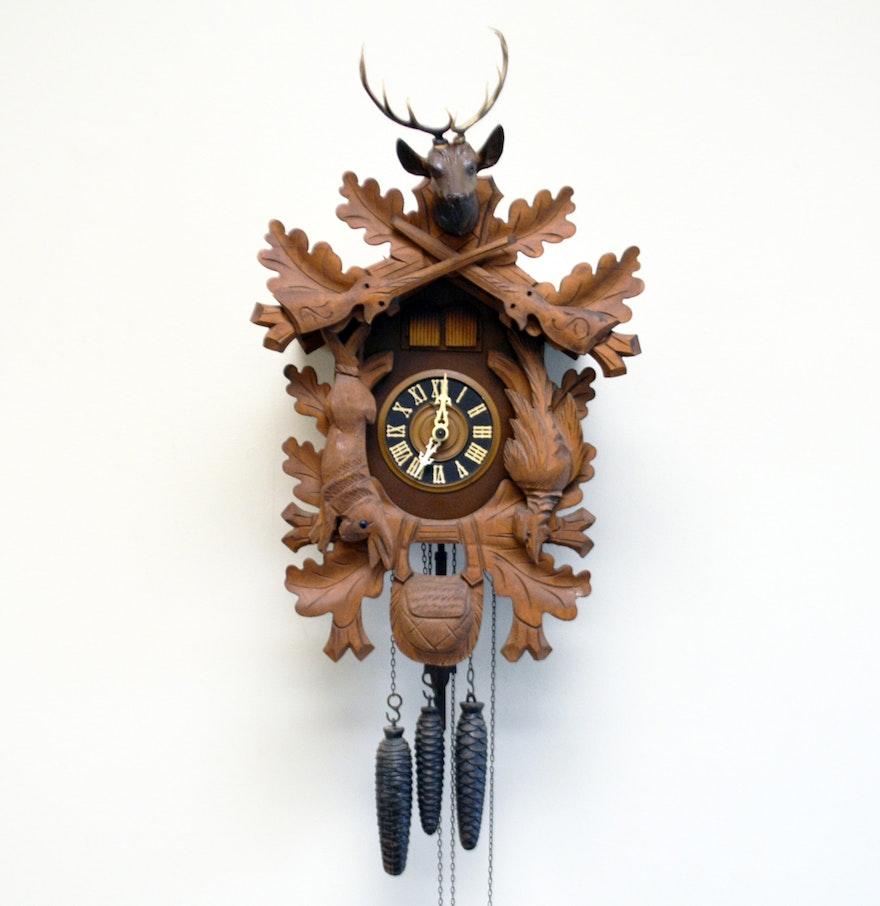 Vintage german jmius wooden cuckoo clock ebth - Wooden cuckoo clocks ...