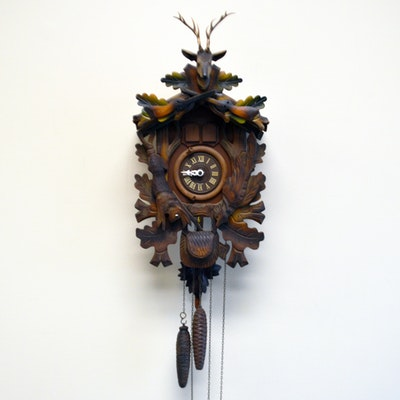 Wooden pendulum wall clock ebth - Wooden cuckoo clocks ...