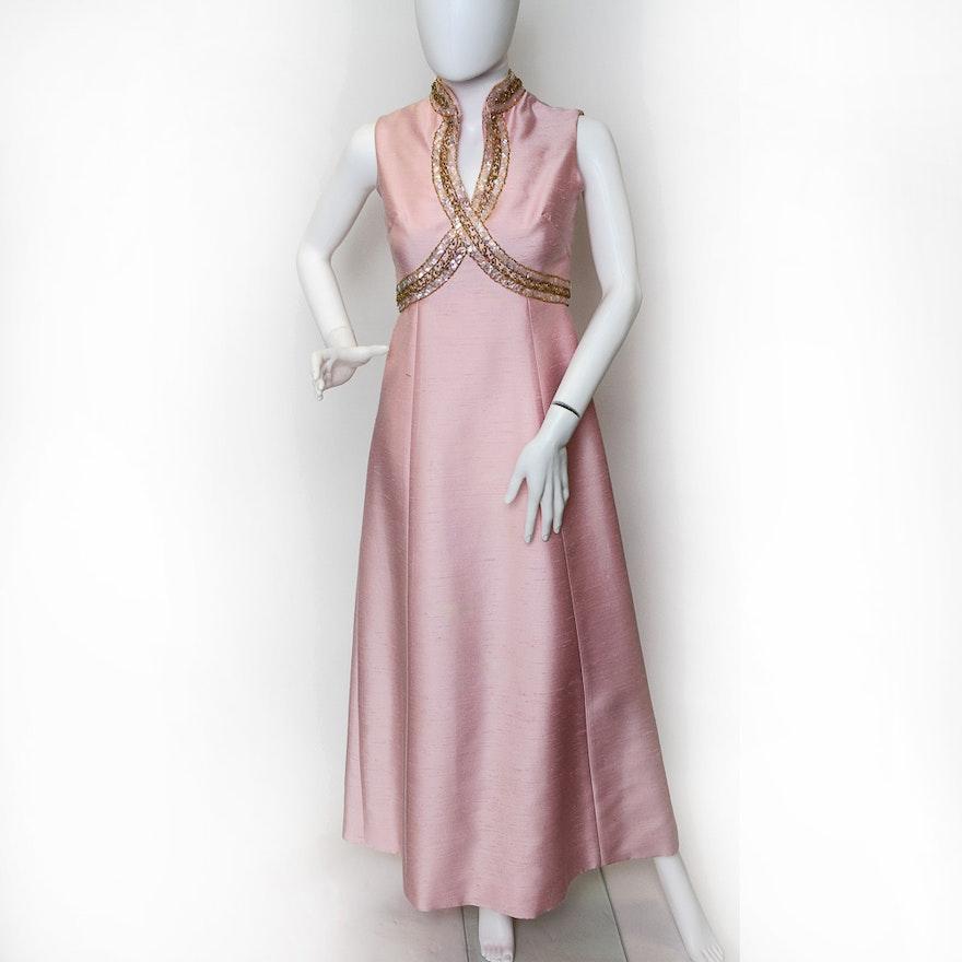 1960\'s Designer Lillie Rubin Pink Silk Shantung Evening Gown : EBTH