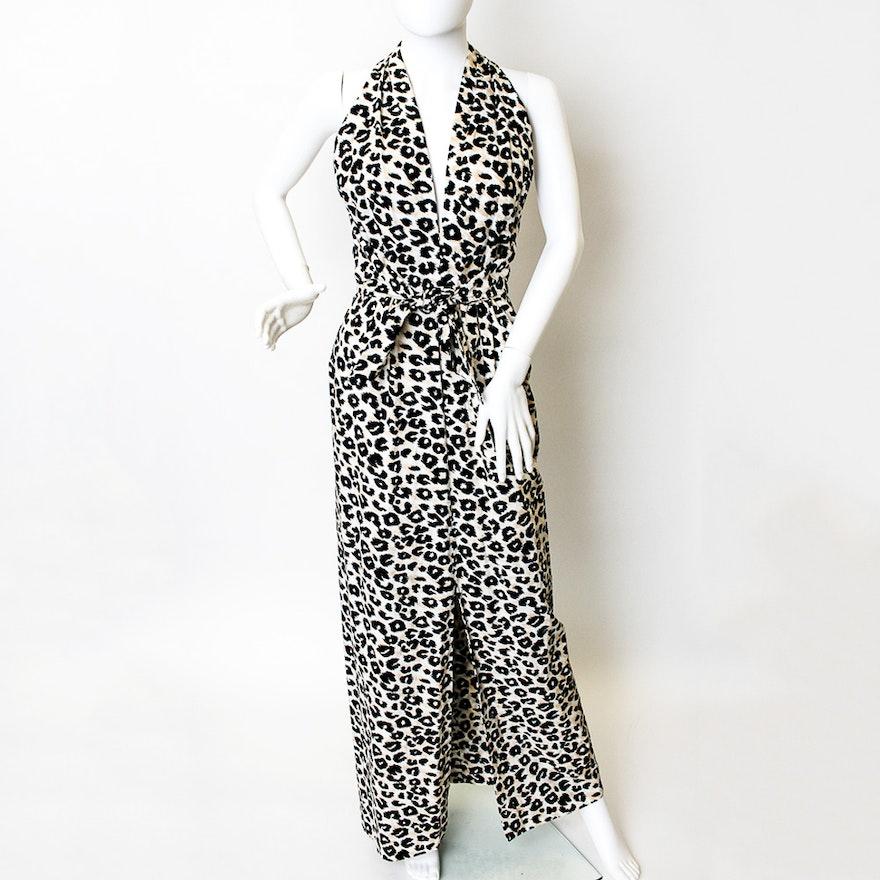 Vintage Victor Costa Sleeveless Cheetah Print Maxi Dress   EBTH e01f025a1