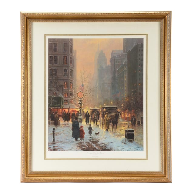 """G. Harvey Limited Edition Offset Lithograph """"Evening Along the Avenue"""""""