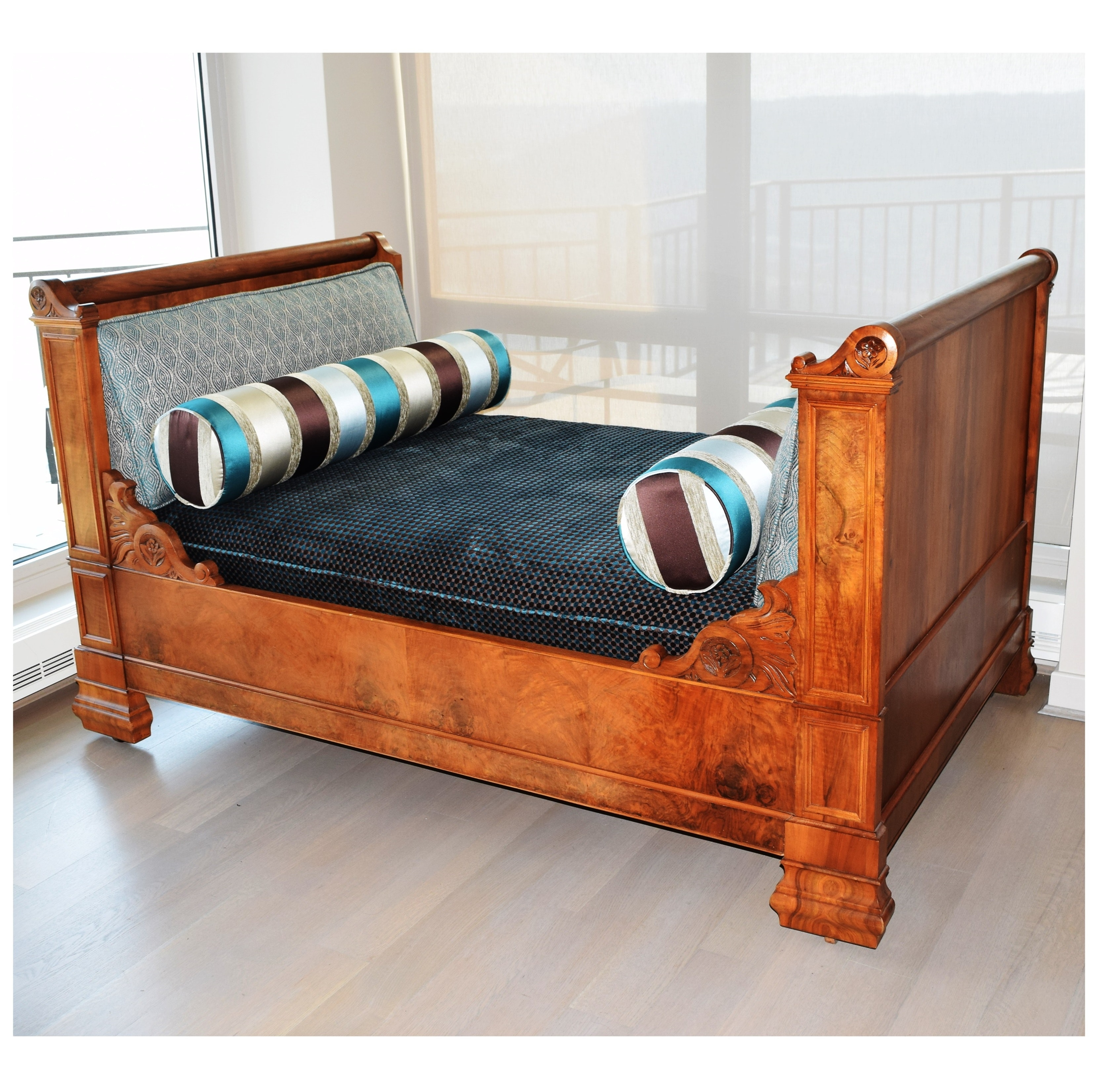 Custom Upholstered 19th Century French Empire Daybed in Walnut