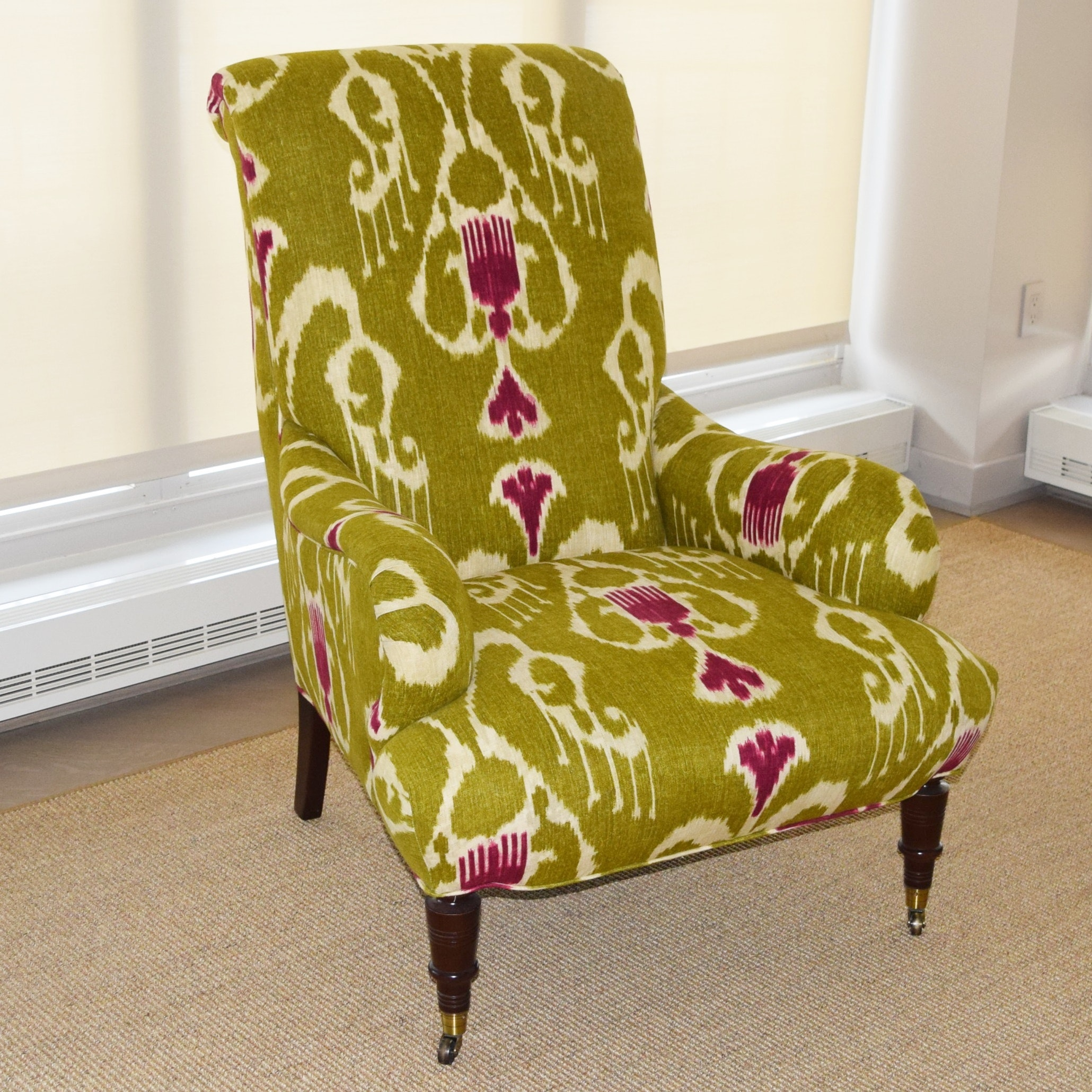Upholetered High Back Arm Chair Upholstered In Ikat Fabric ...