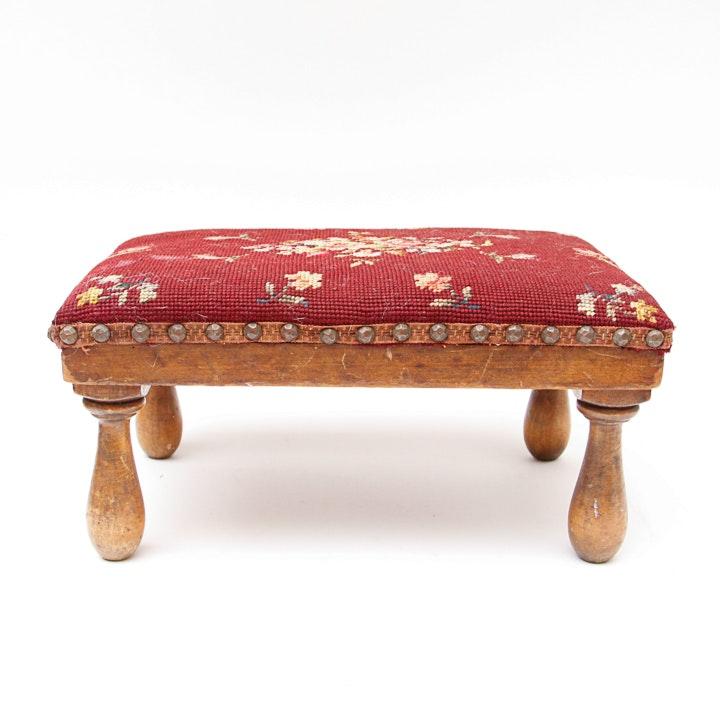 Antique Needlepoint Footstool Ebth