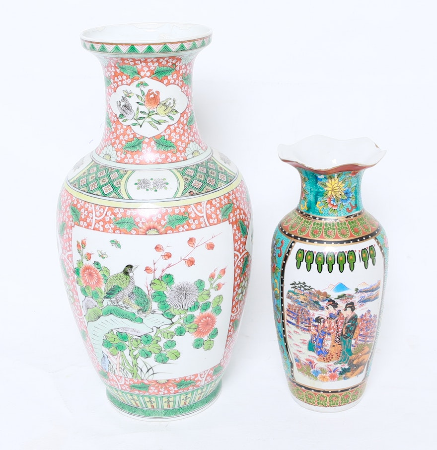 4796711 Two Hand Painted Chinese Vases on Traditional Japanese House Style