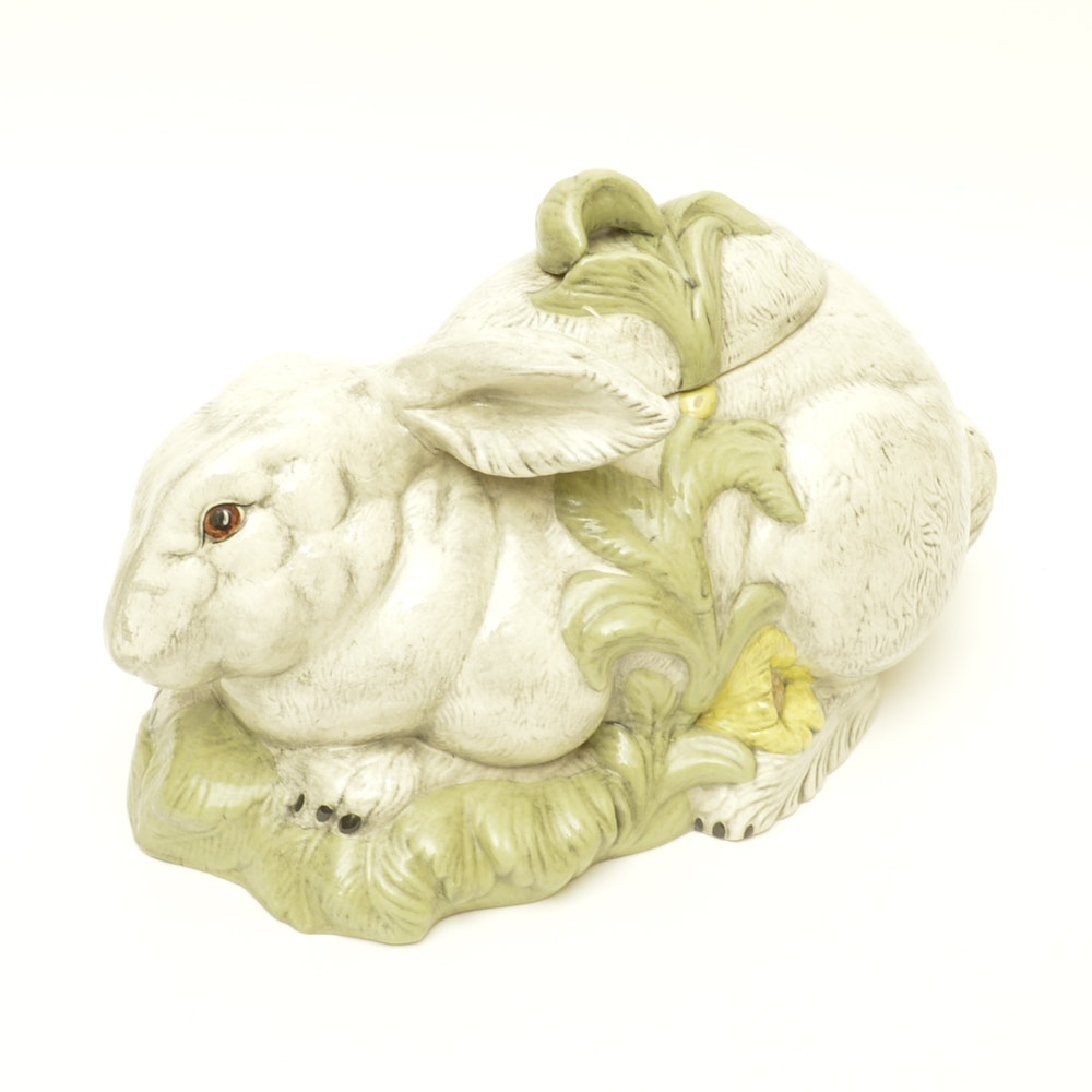 Ceramic Rabbit Cookie Jar