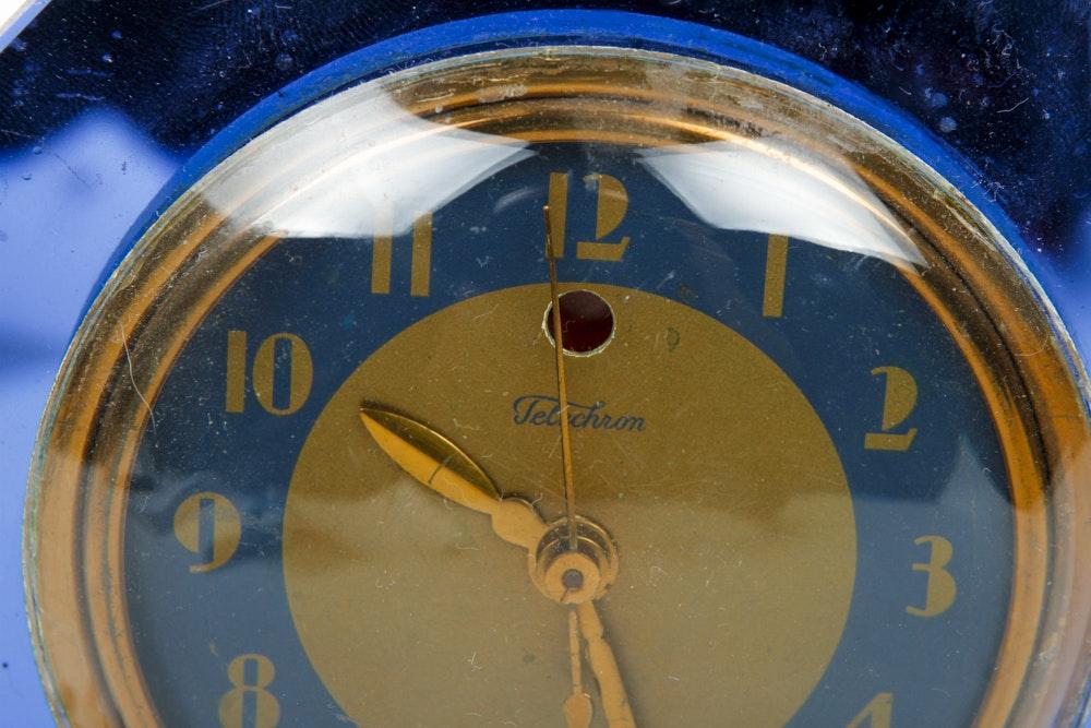 Vintage Telechron Blue Mirror Mantle Clock Ebth