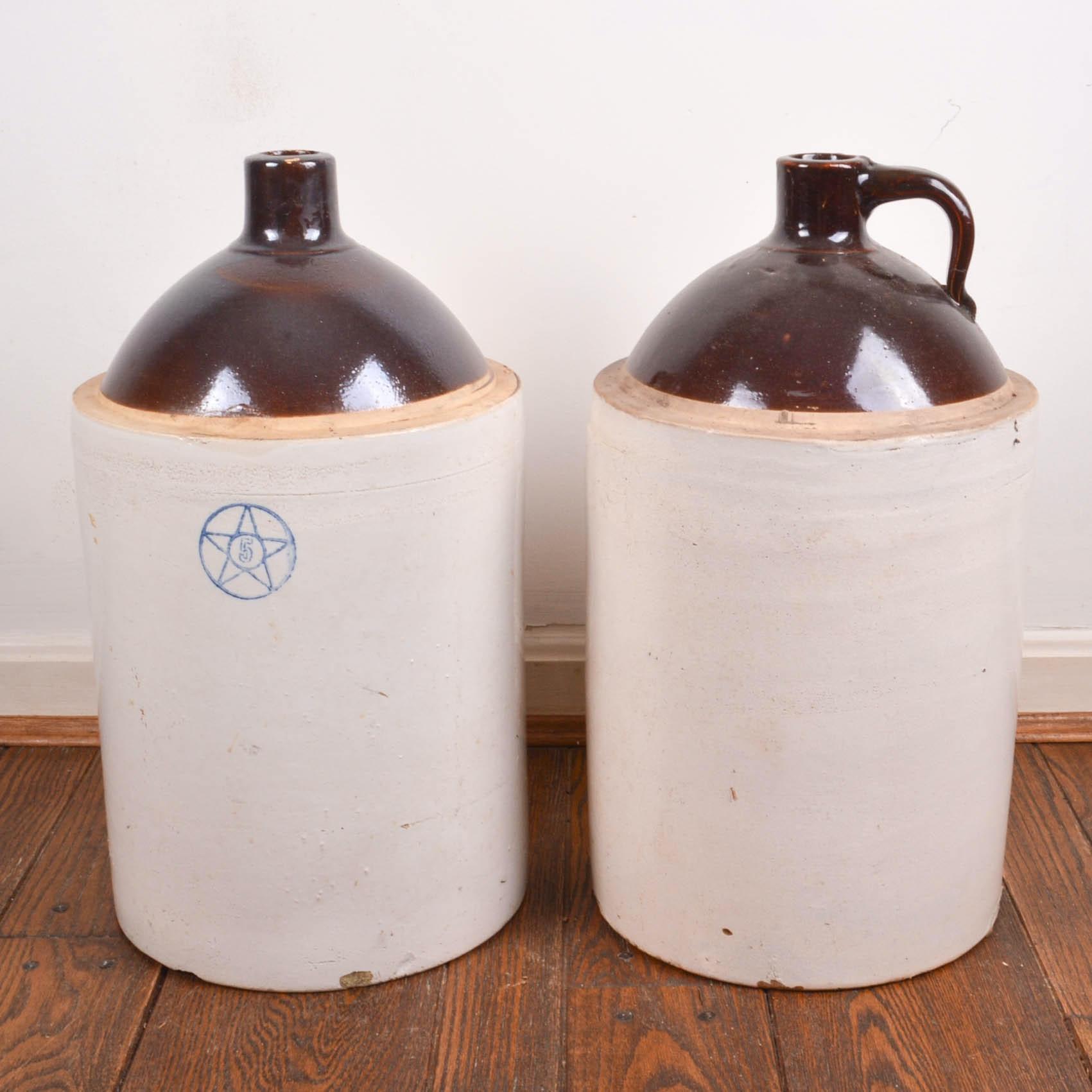 Pair of Five Gallon Stoneware Jugs