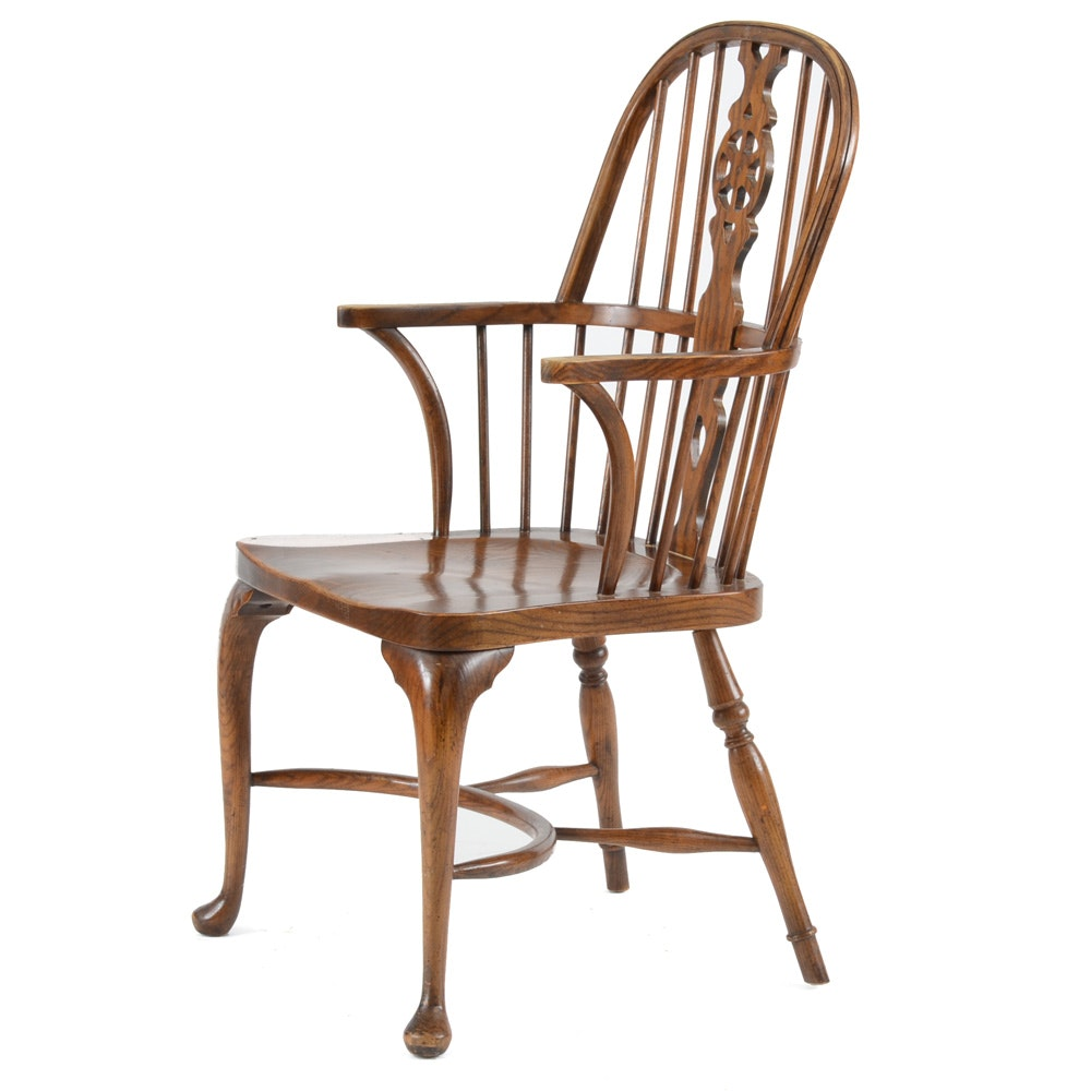 Elm Wheel-Back Windsor Arm Chair by Baker ...  sc 1 st  EBTH.com & Elm Wheel-Back Windsor Arm Chair by Baker : EBTH