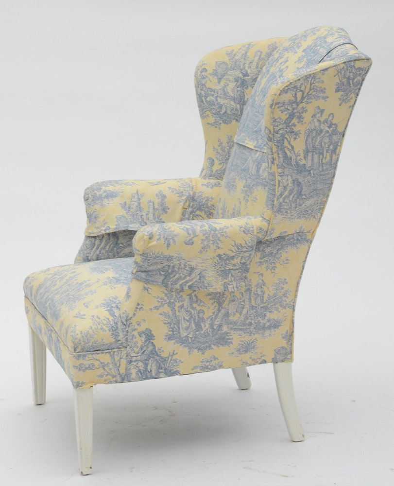 Wingback Chair Upholstered In Blue And Pale Yellow Toile