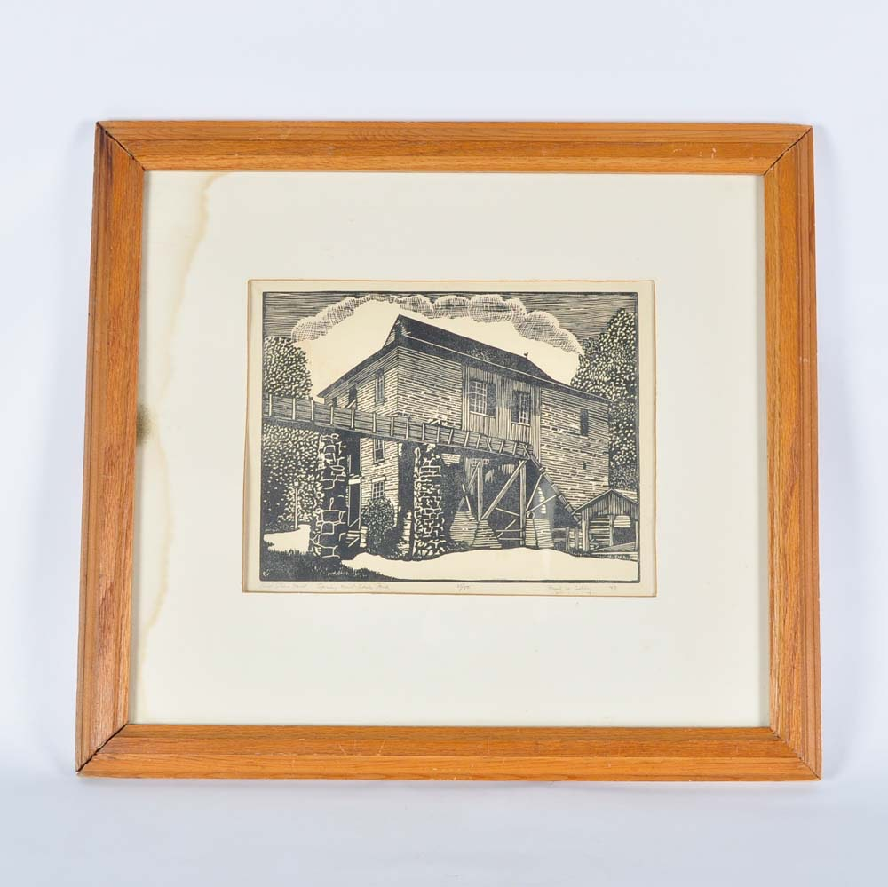 "Paul Ashby Limited Edition Woodblock ""Old Stone Mill"""