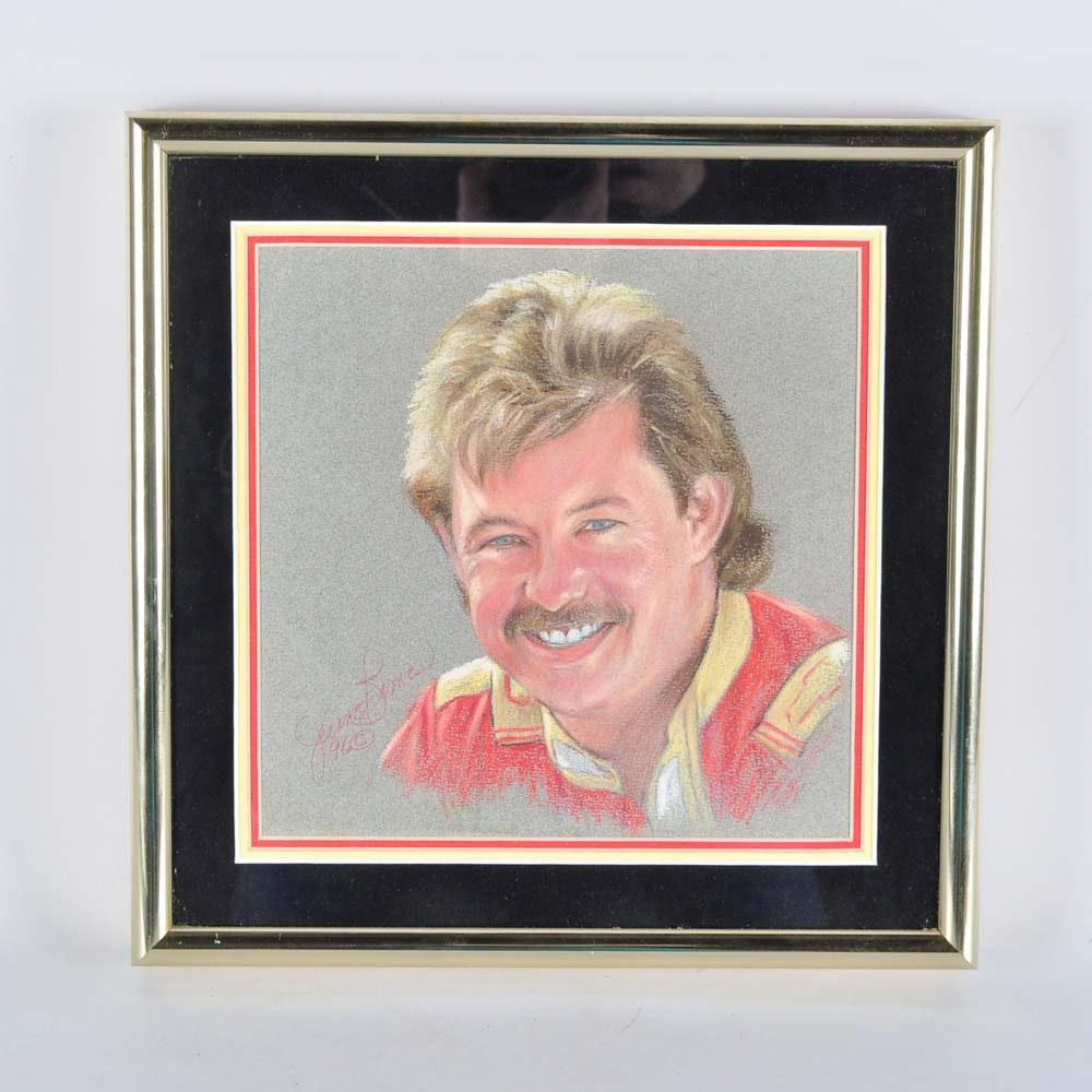 Jeanne Barnes Chalk Drawing of Tim Richmond