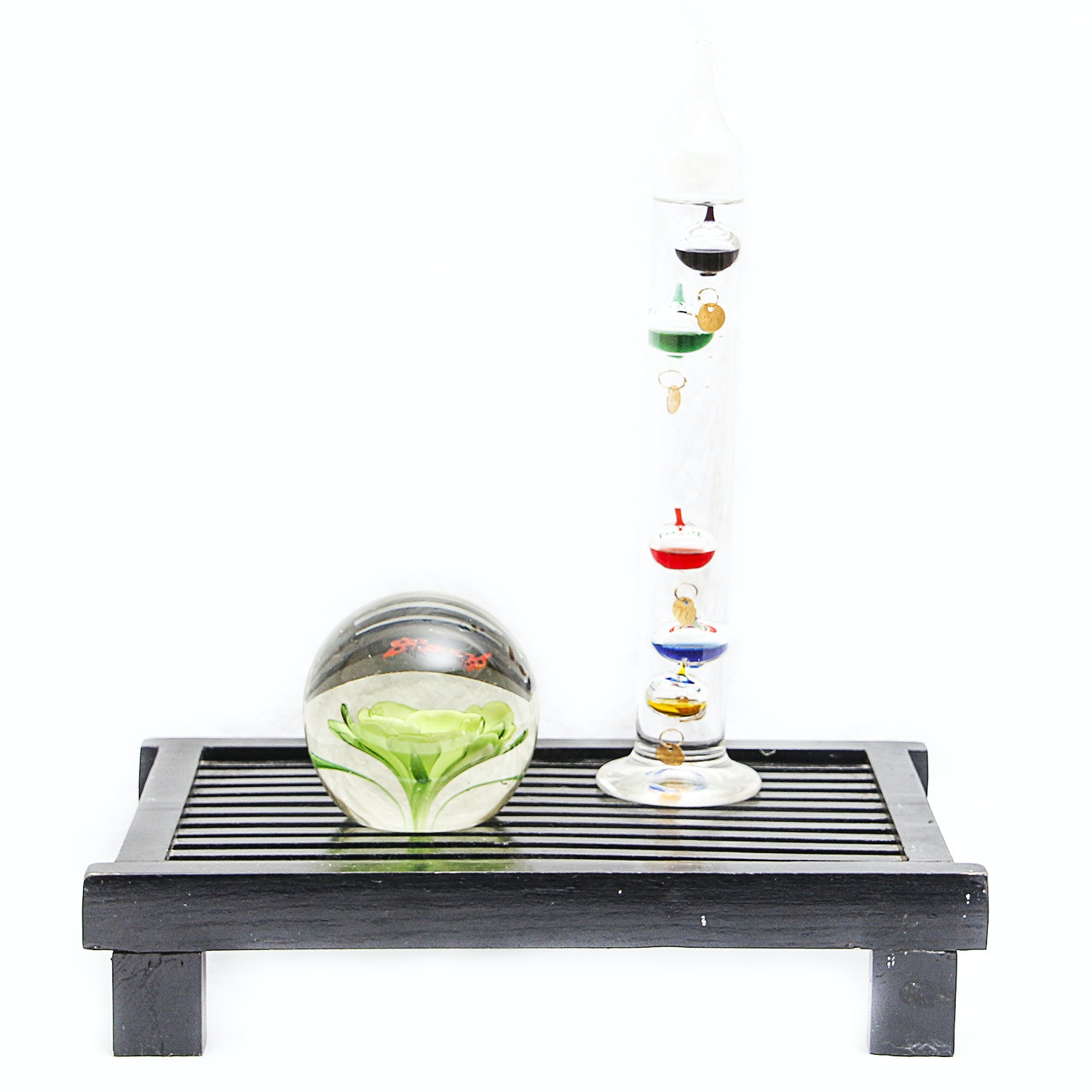 Black Wooden Slated Stand with Glass Home Decor