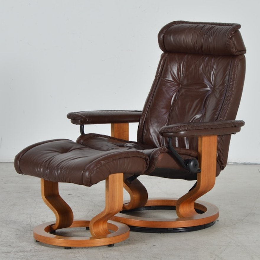 Vintage Ekornes Stressless Brown Leather Recliner With Ottoman