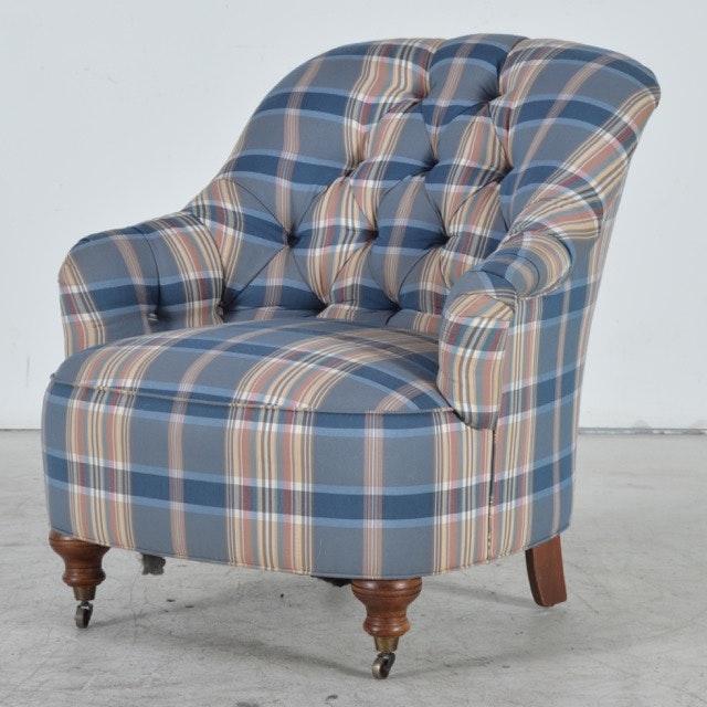 Ethan Allen Victorian Style Overstuffed Tufted Plaid Armchair ...