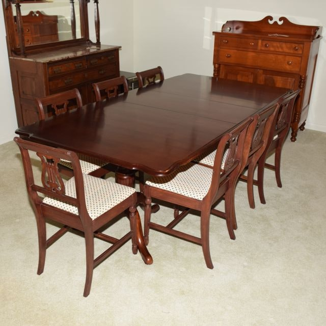 Mahogany Duncan Phyfe Style Dining Table and Seven Harp  : DSC01132jpgixlibrb 11 from www.ebth.com size 880 x 906 jpeg 124kB