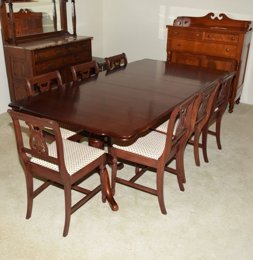 mahogany duncan phyfe style dining table and seven harp back chairs ebth. Black Bedroom Furniture Sets. Home Design Ideas