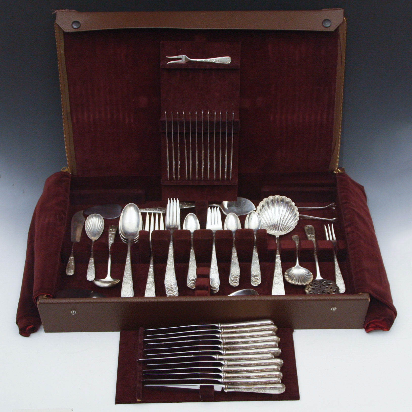 "S. Kirk & Son ""Old Maryland"" Monogrammed Sterling Silver Flatware Service for Twelve"