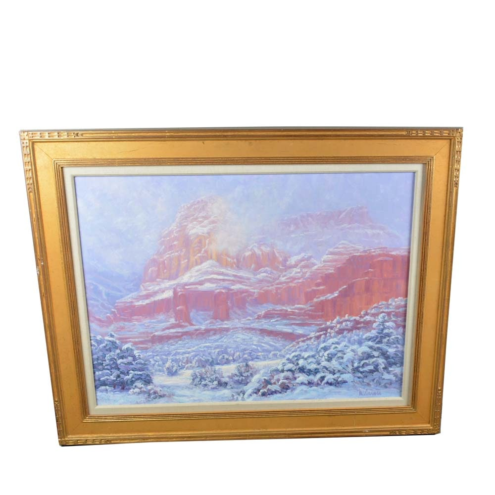 M.L. Coleman Original Oil Painting of a Mountainscape