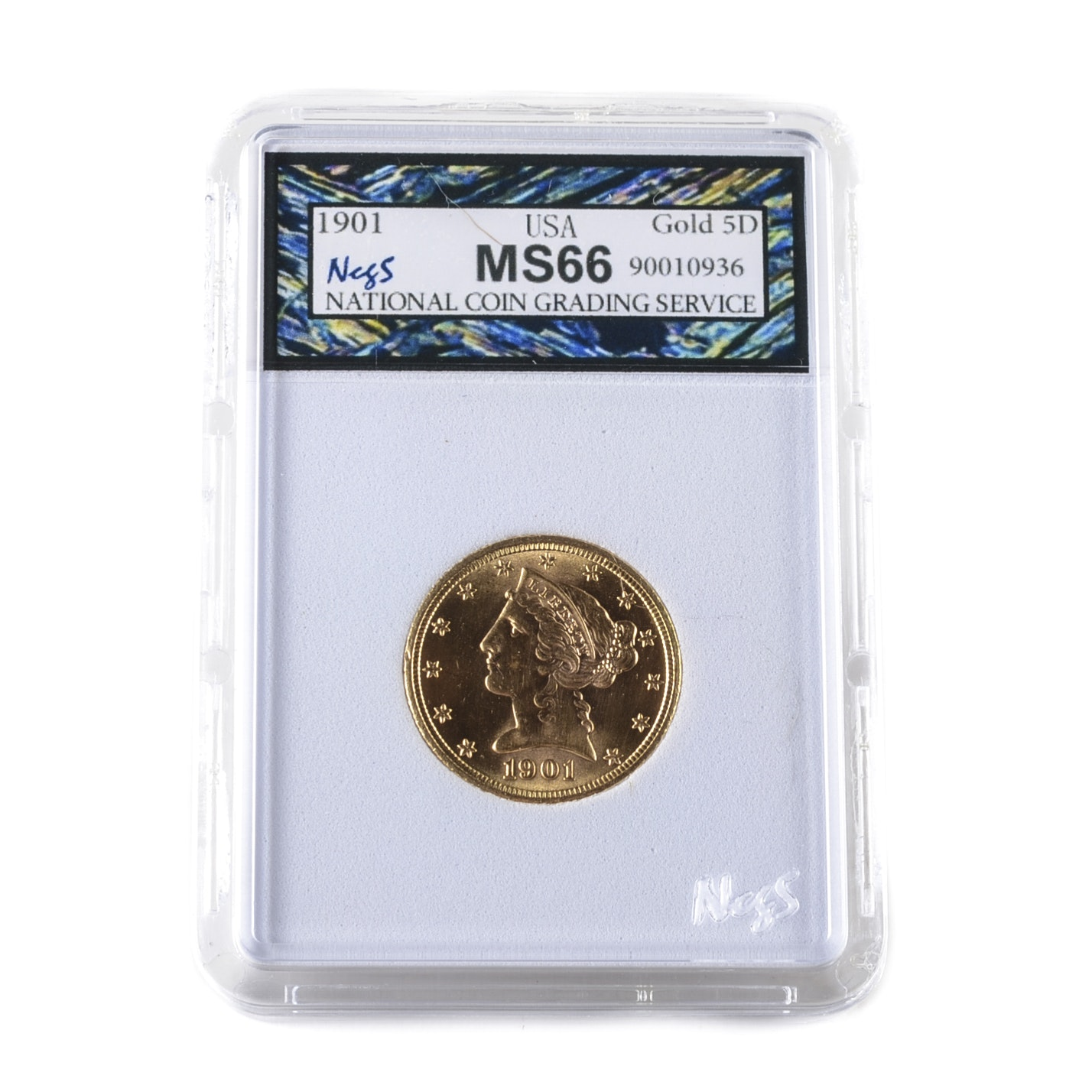 Graded MS66 (By NCGS) 1901 Liberty Head $5 Gold Coin