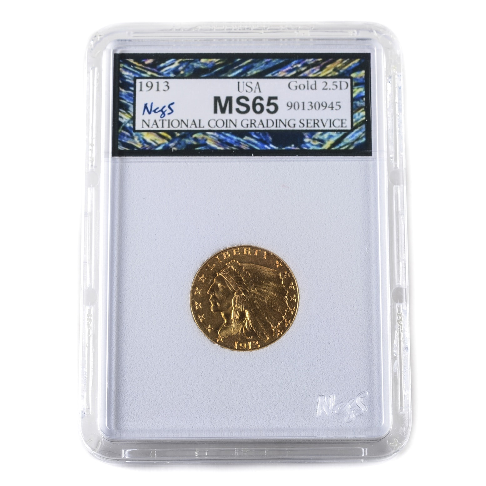 Graded MS65 (By NCGS) 1913 Indian Head $2 1/2 Gold Coin