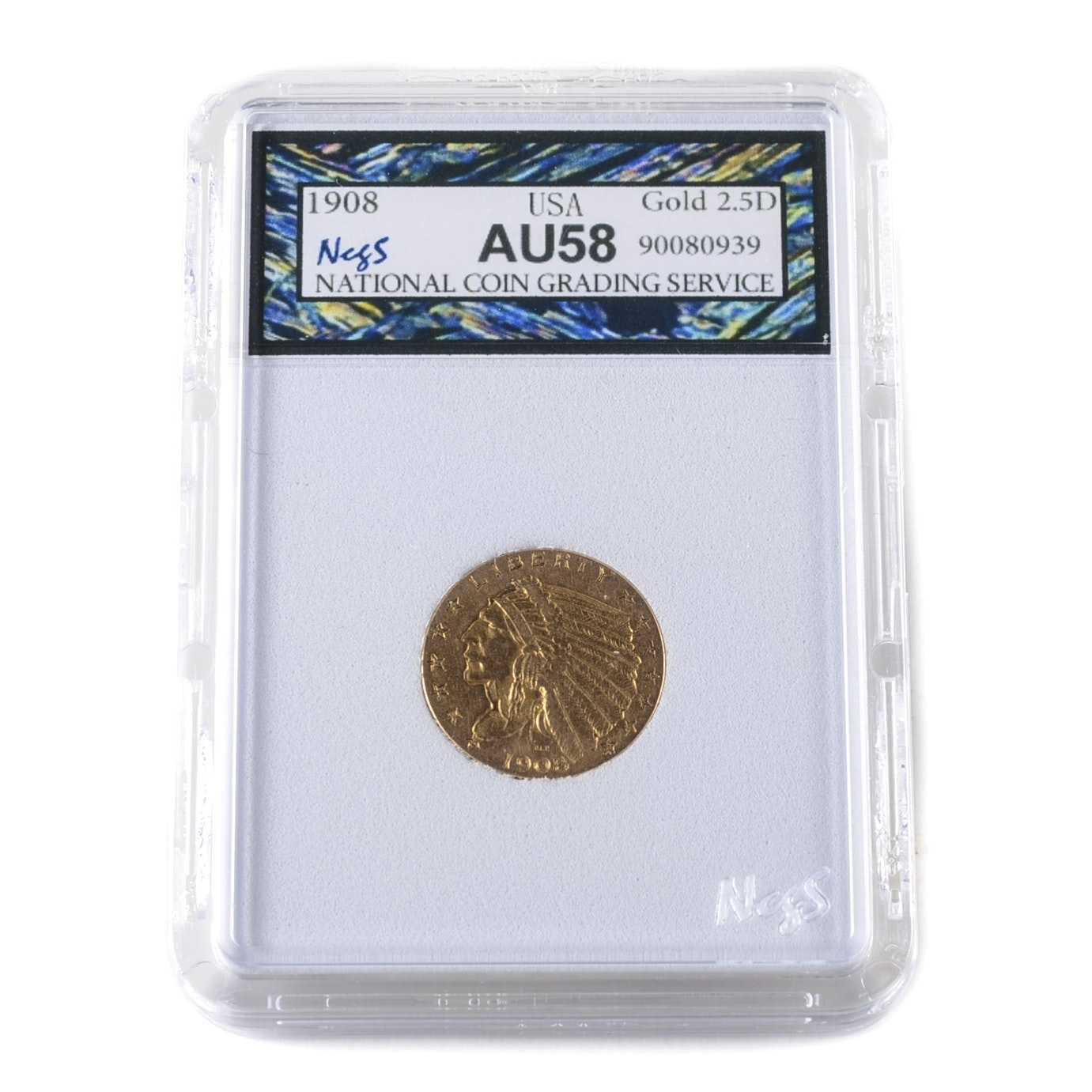 Graded AU58 (By NCGS) 1908 Indian Head $2 1/2 Gold Coin