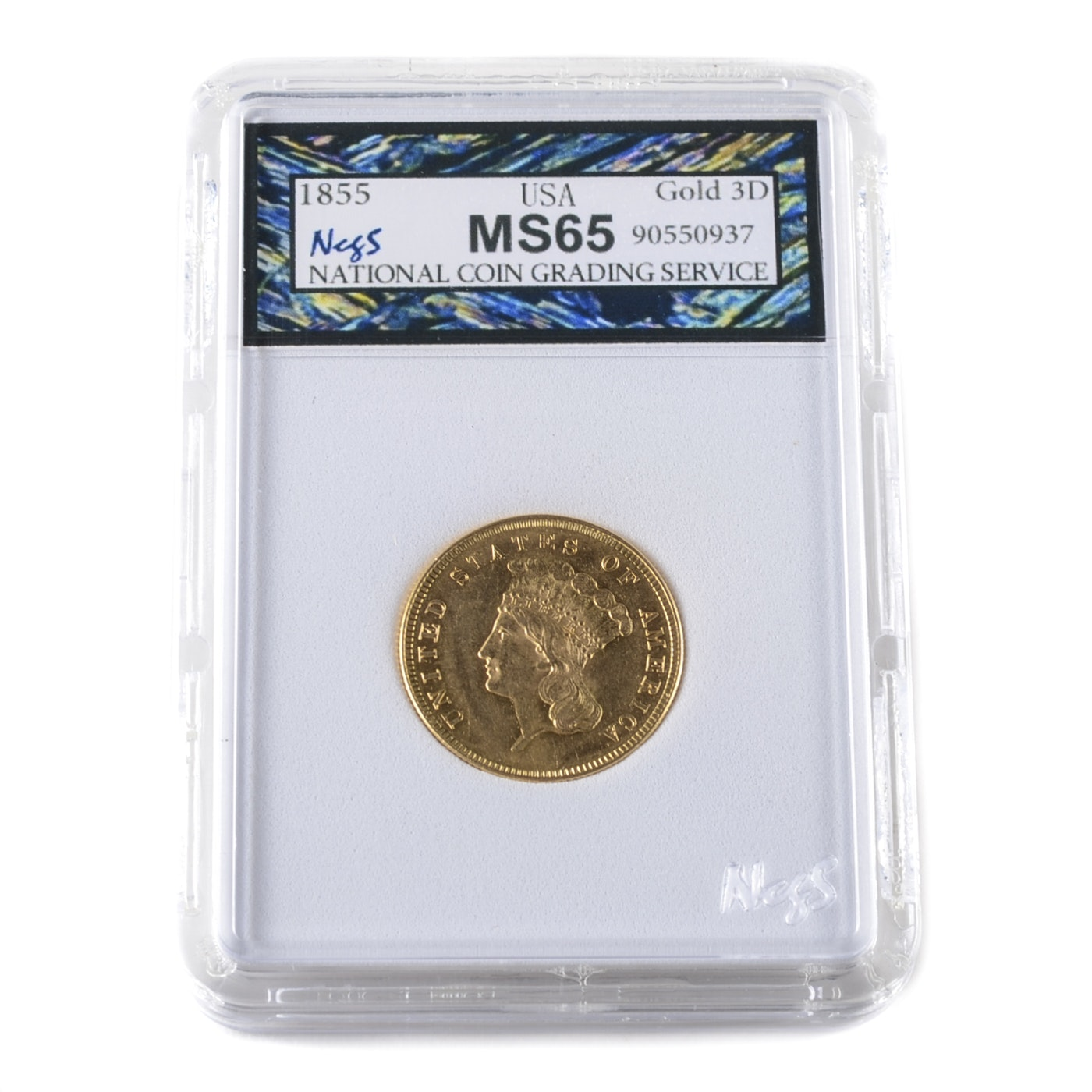 Graded MS65 (By NCGS) 1855 Indian Head Princess $3 Gold Coin