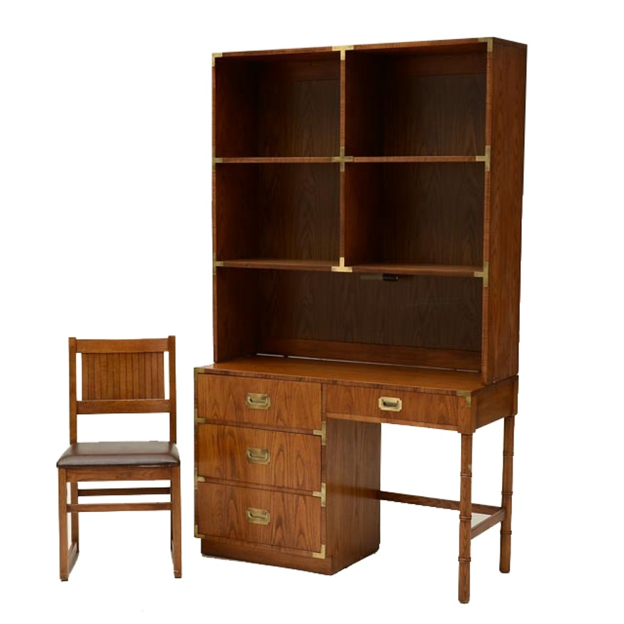 Dixie Quot Campaigner Quot Pecan Desk With Bookcase Top And Chair