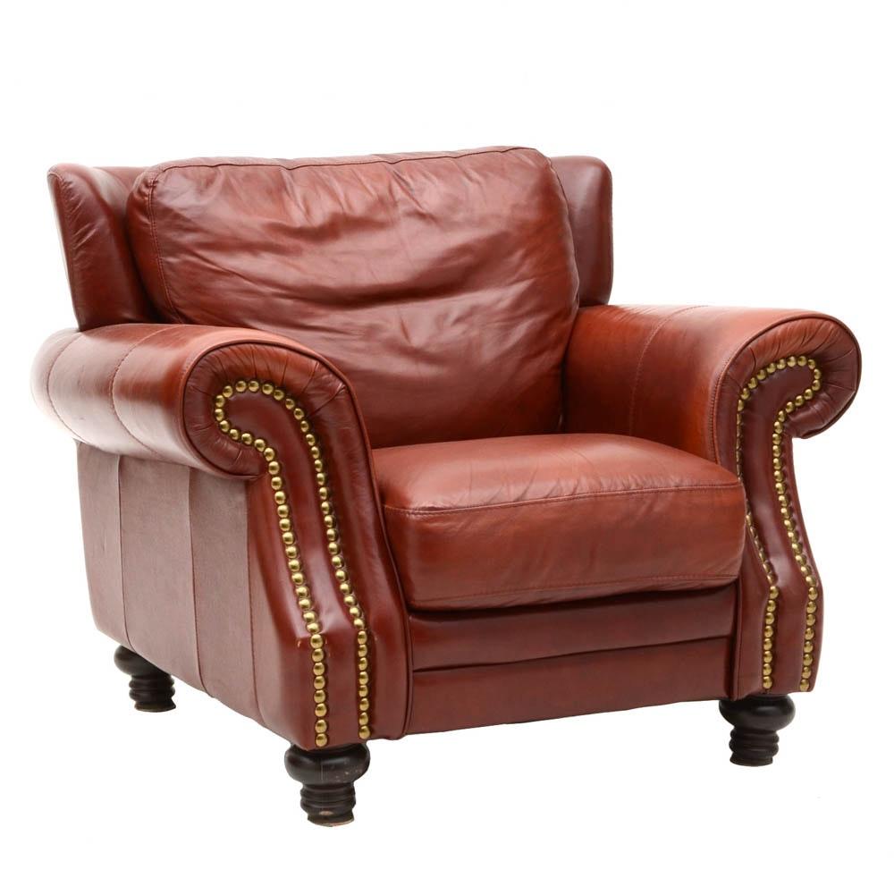 Italian Leather Overstuffed Arm Chair ...
