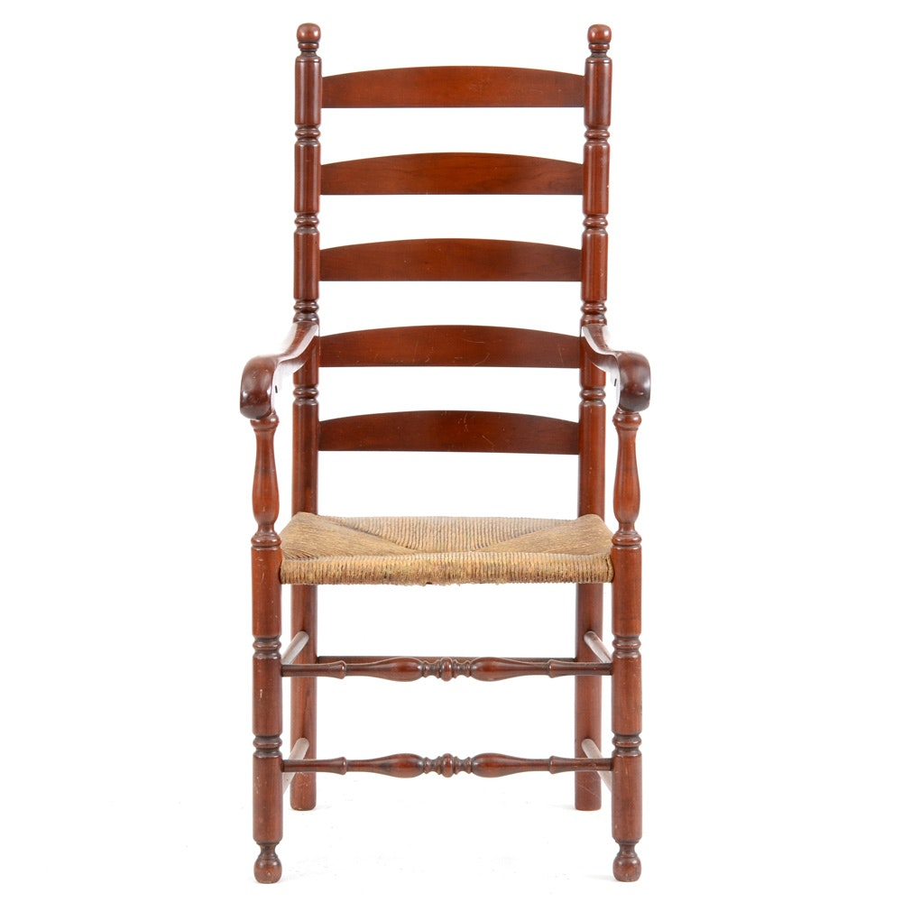 Colonial Style Cherry Ladder Back Arm Chair Ebth